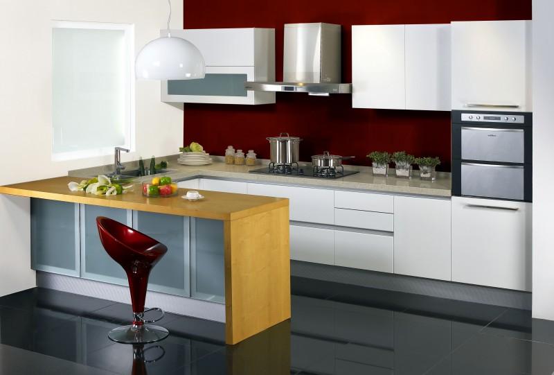 JISHENG high gloss kitchen cabinet -fresh design |db-kitchen
