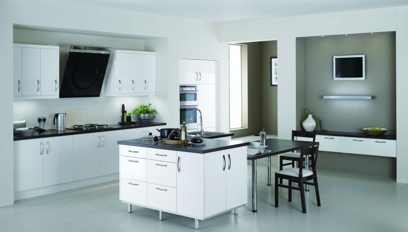 Jisheng Uv High Gloss Kitchen Cabinet White Db Kitchen