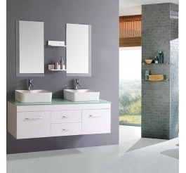 high gloss white bathroom vanities and cabinets with double basin double faucet
