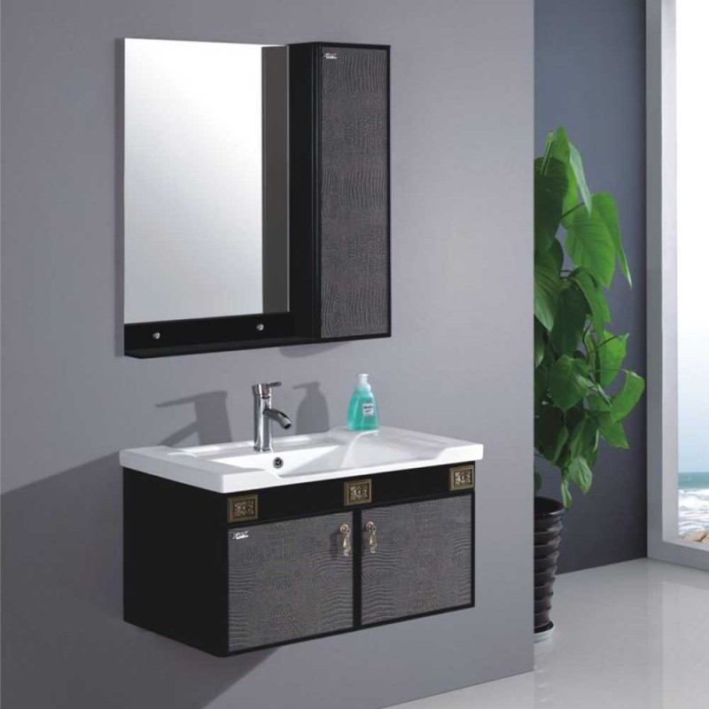 JS Double Sink Single Sink Custom Made Bathroom Vanity Cabinets Black Surface