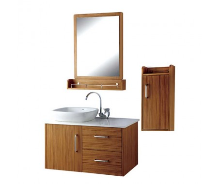 Wood grain water resistant plywood bath vanity cabinets with single basin,faucet