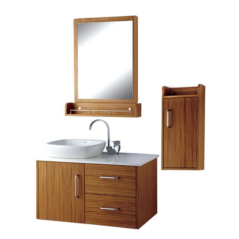 Wood Grain Water Resistant Plywood Bath Vanity Cabinets With Single Basin ,faucet