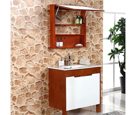 small bathroom vanity_ vintage wood grain  mix modern design
