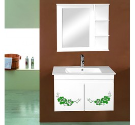 custom wall mounted bathroom vanities with two decorative pattern cabinet doors