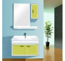 Lemon yellow bathroom vanity units including main and side cabinets