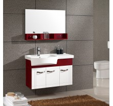 Bathroom vanities of wine red and white acrylic panel material