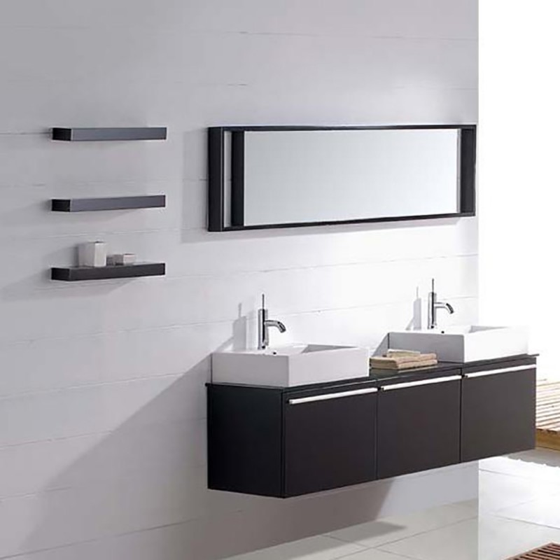 JS Modern Double Sink Bathroom Vanity Black Pattern Foshan Factory Db Kitchen