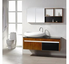Rustic design wood grain bathroom vanities with countertop