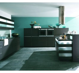 High Gloss Grey Kitchen Cabinet - Teal and grey kitchen