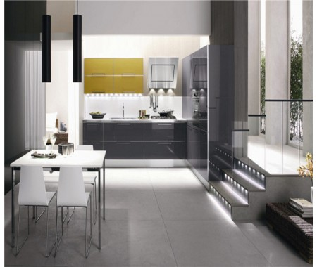 fantastic high gloss dark grey kitchen cabinet
