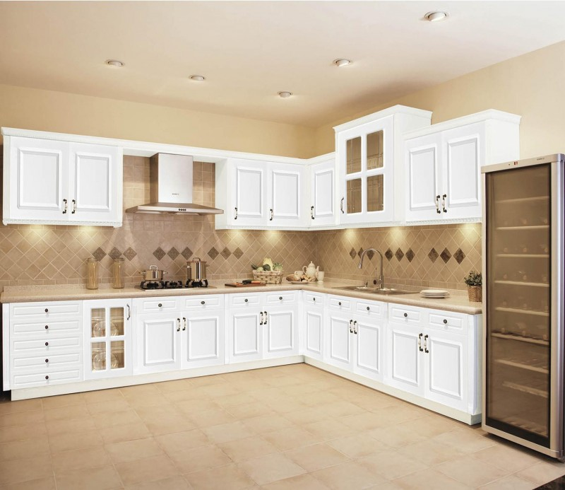 Jisheng white thermofoil kitchen cabinets with thermofoil for Perfect kitchen cabinets