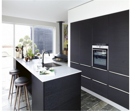 Customized made black and whiet lacquer kitchen cabinet