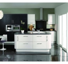 Black and whiet color high gloss kitchen cabinet