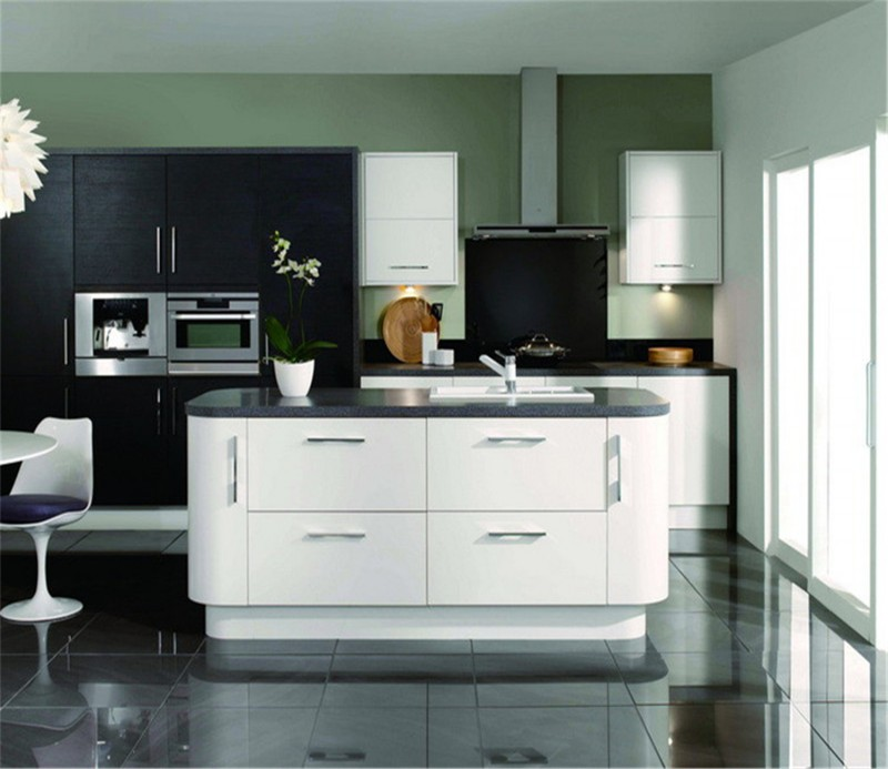 High Gloss Kitchen Island: Black And Whiet Color High Gloss Kitchen Cabinet