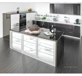 High gloss UV wood grain custom kitchen cabinet