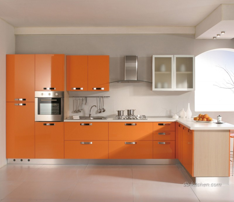 It's Very Easy To Brighten Your Kitchen With Glossy Orange