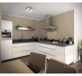 Modular glossy white lacquer kitchen cabinet design