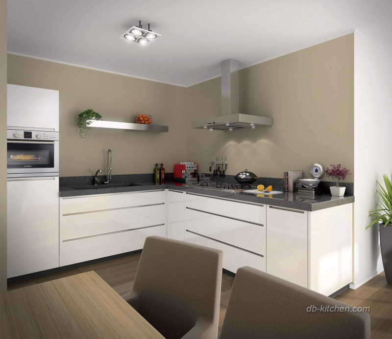 Gloss White Kitchen Cabinets: Glossy White Lacquer Kitchen Cabinet Designed By Jisheng