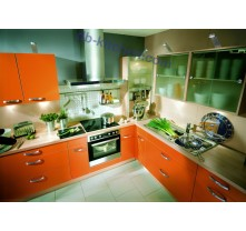 high gloss UV kitchen cabinet design with orange  surface