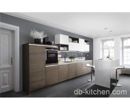 Custom modern wood grain UV kitchen cabinet high quality in Foshan factory European style