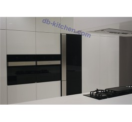 high gloss white UV custom combination kitchen cabinet noble style