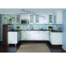 elegant rural style custom high gloss white lacquer China kitchen cabinet