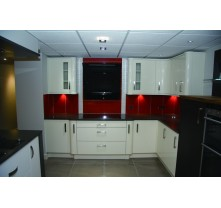 color combination of white with red mixed PETG matte kitchen cabinet
