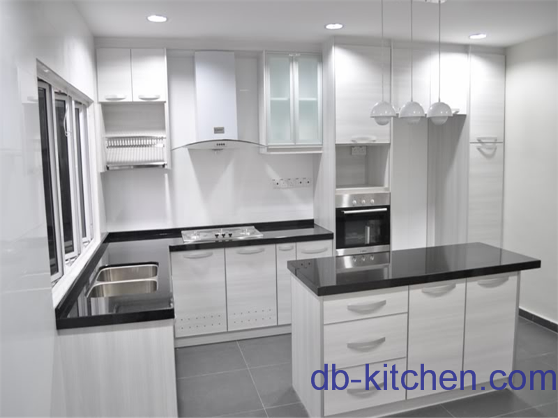 high gloss UV board white wood grain kitchen cabinet modern design – White High Gloss Kitchen Cabinets