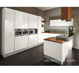 High gloss white lacquer kitchen cabinet with customize wood grain color counter top