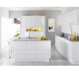 high gloss MDF white acrylic kitchen cabinet modern style