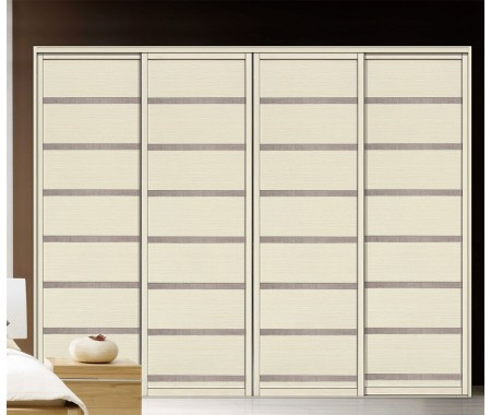 Customized melamine plywood wardrobe with high gloss sliding door design