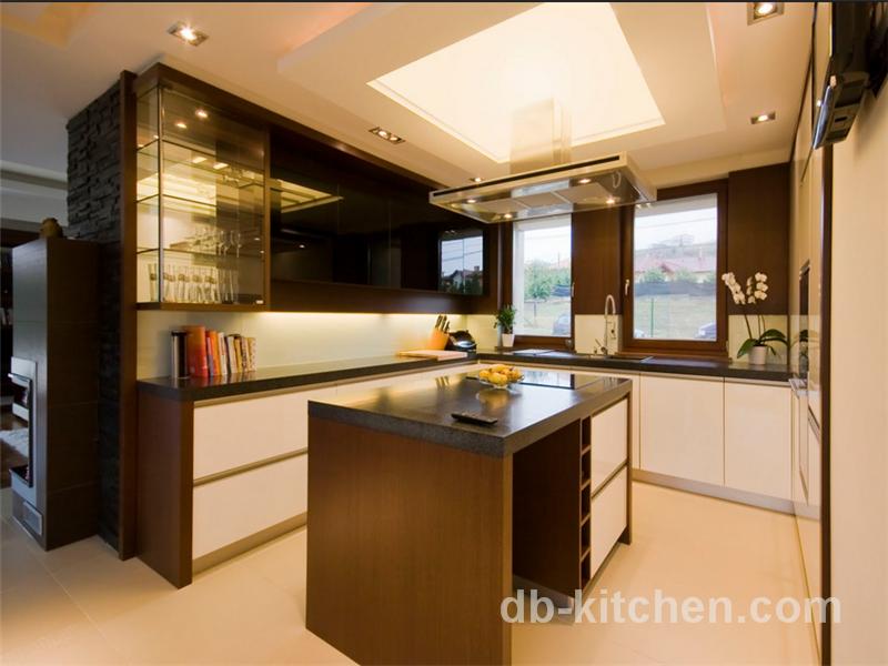 high class white matte petg door wood grain veneer kitchen cabinet