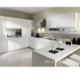 High gloss finished acrylic white customize kitchen cabinet