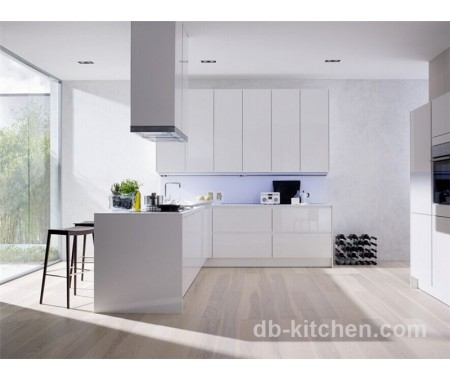 High gloss plywood white UV board modern kitchen cabinet