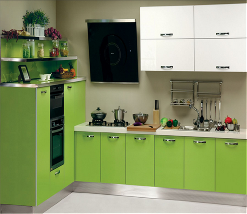 PVC door panel kitchen cabinet design with plywood carcass