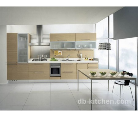 UV wood grain veneer high class kitchen cabinet with high quality