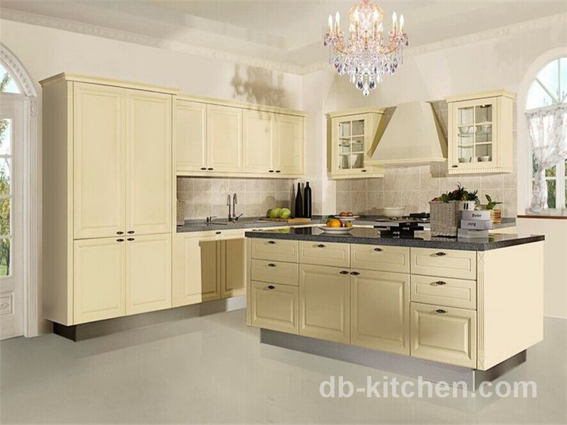 European Old Style Beige Color Kitchen Cabinet Classic Design