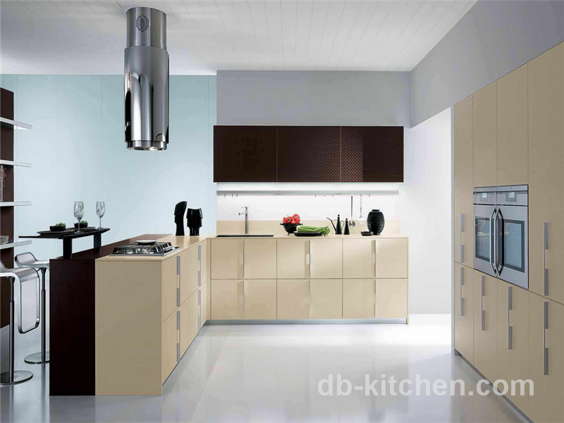 Modern Style Petg Khaki Color Kitchen Cabinet With Matte Finish