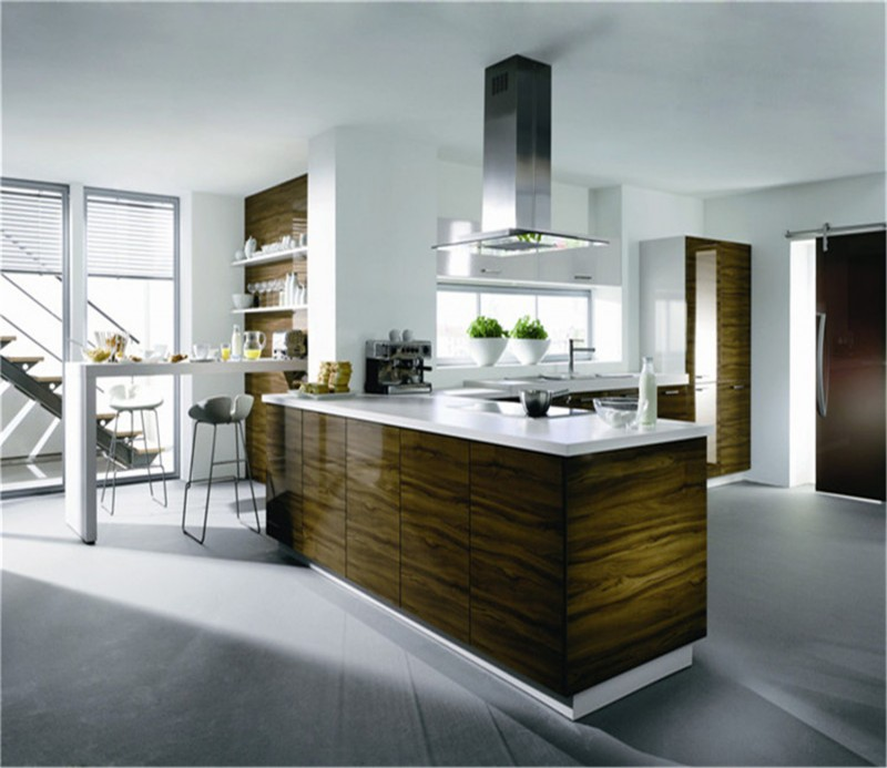 Modern Wood Kitchen Cabinets: Modern High Gloss UV Wood Grain Kitchen Cabinet