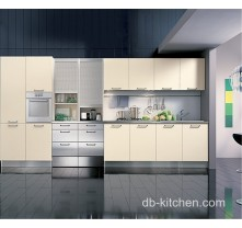 beige high gloss PETG luxury kitchen cabinet for high class house