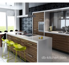 Modern Uv Wood Grain Simple Design Kitchen Cabinet