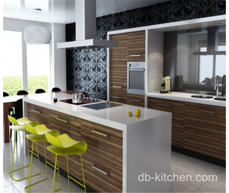 high gloss wood grain modern kitchen cabinet
