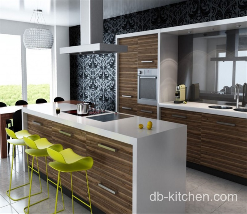 Contemporary Kitchen Vs Modern Kitchen: High Gloss UV Wood Grain Kitchen Cabinet