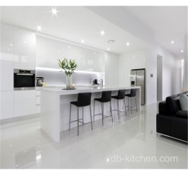 High gloss white PETG luxury kitchen furniture cabinet design