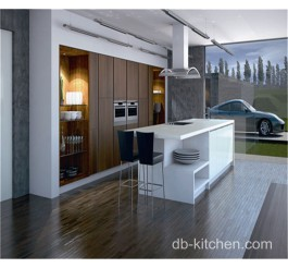 High gloss white acrylic and UV wood grain modern kitchen cabinet