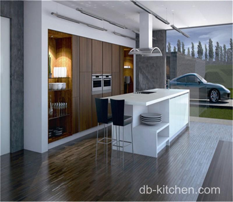 Kitchen Design Uv: High Gloss White Acrylic And UV Wood Grain Modern Kitchen