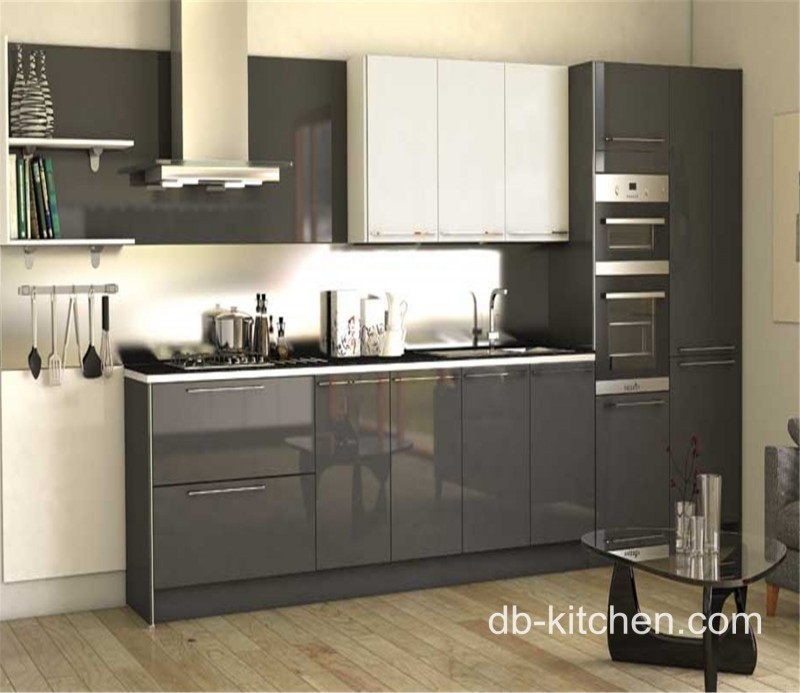 High Gloss Acrylic Grey Custom Modern Kitchen Cabinet - Dark grey gloss kitchen