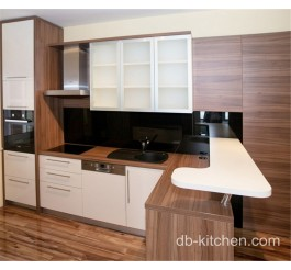 modern style high gloss PETG and UV matte wood grain custom kitchen cabinet