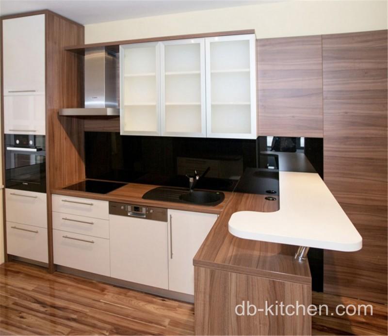 Modern Wood Grain Kitchen: High Class High Gloss Custom Modern PETG And UV Wood Grain