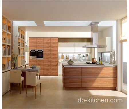 high quality UV wood grain modern kitchen cabinet model
